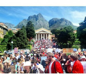 Students protesting outside Jameson Hall at the University of Cape Town      Photograph by: Renata Bossi