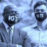 Reverend Raphael Warnock (left) and former investigative journalist Jon Ossoff (right), both running for Senator in Georgia. © EPA